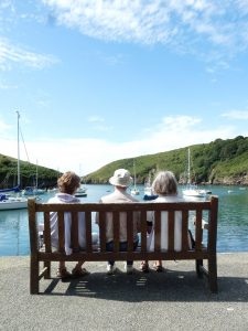 Sitting on a bench in Solva harbour