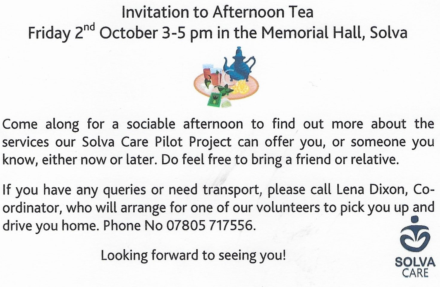 afternoon tea invite solva care